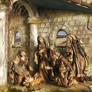 Oriental crib Carved nativity from Val Gardena