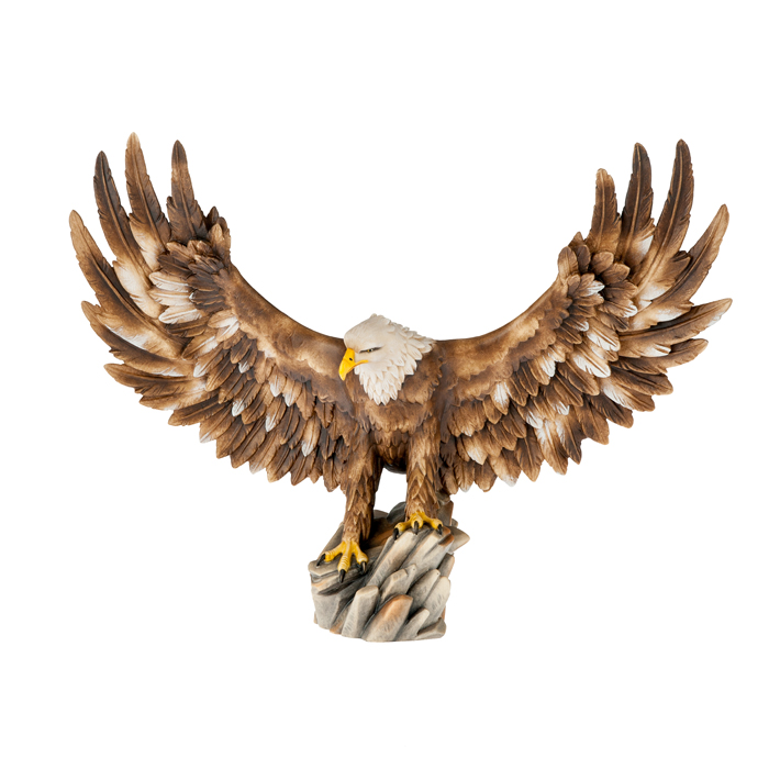 Eagle white head open wings - Woodcarvings Val Gardena