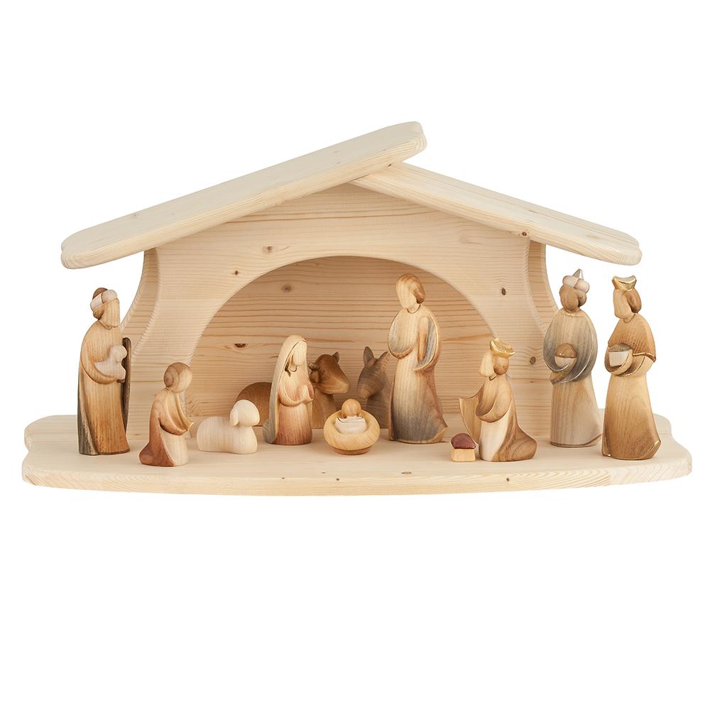 Modern art nativity set 12 pieces woodcarvings val gardena - Krippe modern holz ...