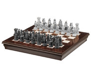 Chess board with boxes, nut and maple wood 52 x 52 cm