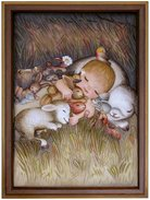 Snugging with animals  -  Anri 45x35