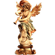 Angel on cloud with harp on pedestal