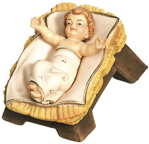 Infant Jesus With Cradle Woodcarving Nativity And Chess