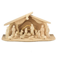 Modern Art complete nativity natural 17 pieces