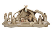 LI Set Light Nativity 17 figurines + Stable Light