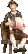 Accordion player seated and chair