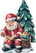 Santa Claus with book and tree