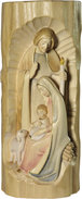 Nativity scene in trunk  -  ash wood