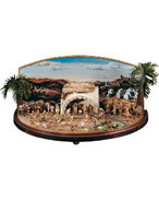Nativity set 40 pieces+scenic backg.