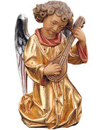 Angel with mandolin with gold dress