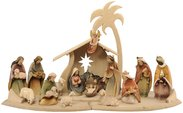 Morgenstern Nativity 20 cm with 16 figures and Star Stable