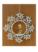 Edelweiss decoration  -  Owl tree trunk