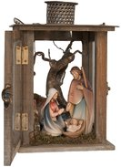 Lantern with Morgenstern Nativity 15 cm and led light