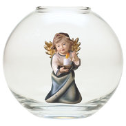 Heart Angel with candle  -  Glass sphere