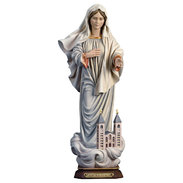 Queen of Peace with church  -  lime carved