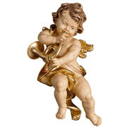 Cherub with horn  -  Lime carved