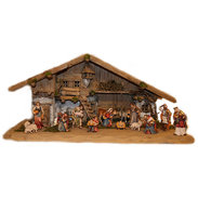 Tirolese Nativity house with 14 statues H.K.