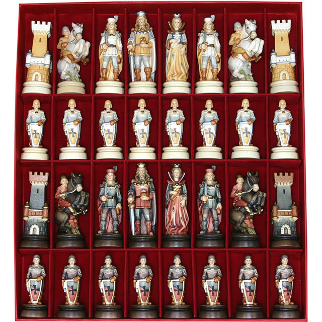 Medieval Chess Set 2 Woodcarving Nativity And Chess Set